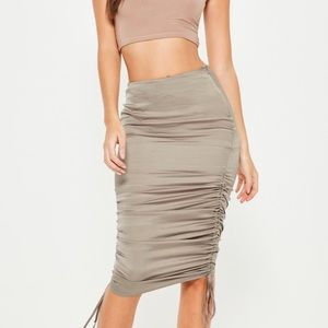 Missguided grey satin riches side midi skirt